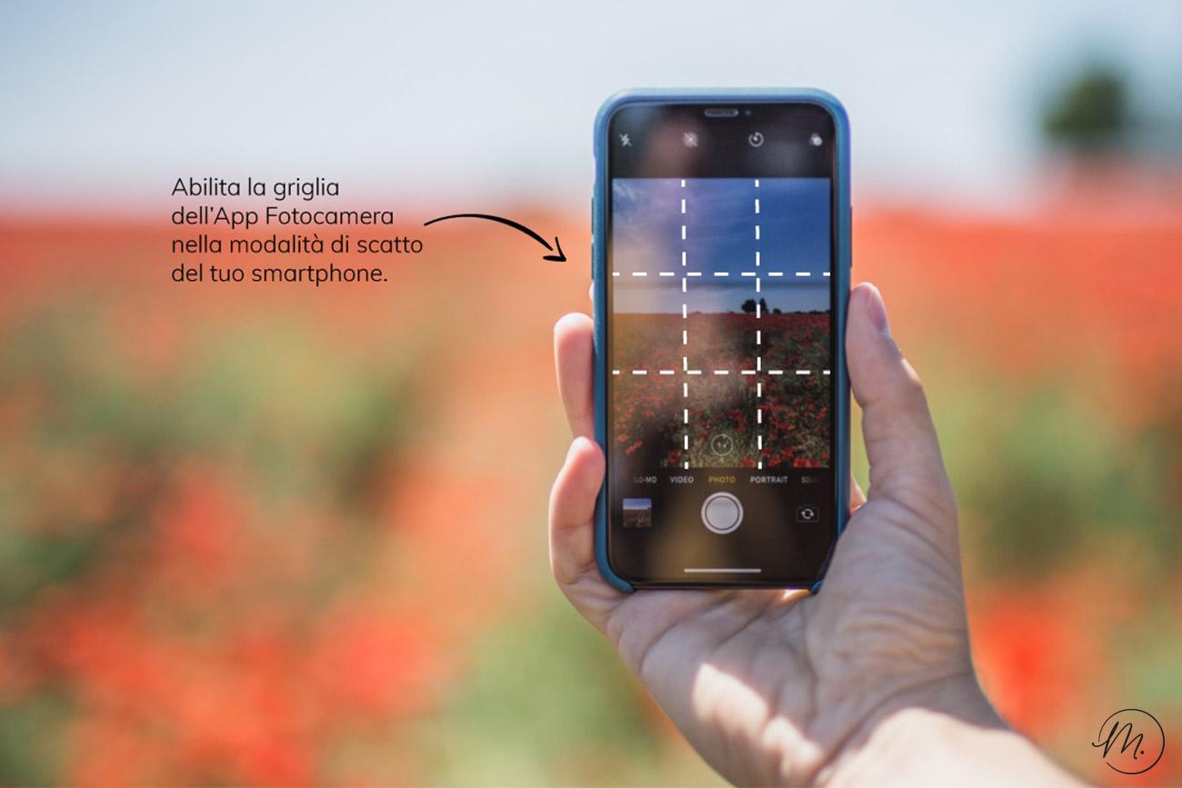 Abilita la griglia nella tua fotocamera per scattare con la regola dei terzi