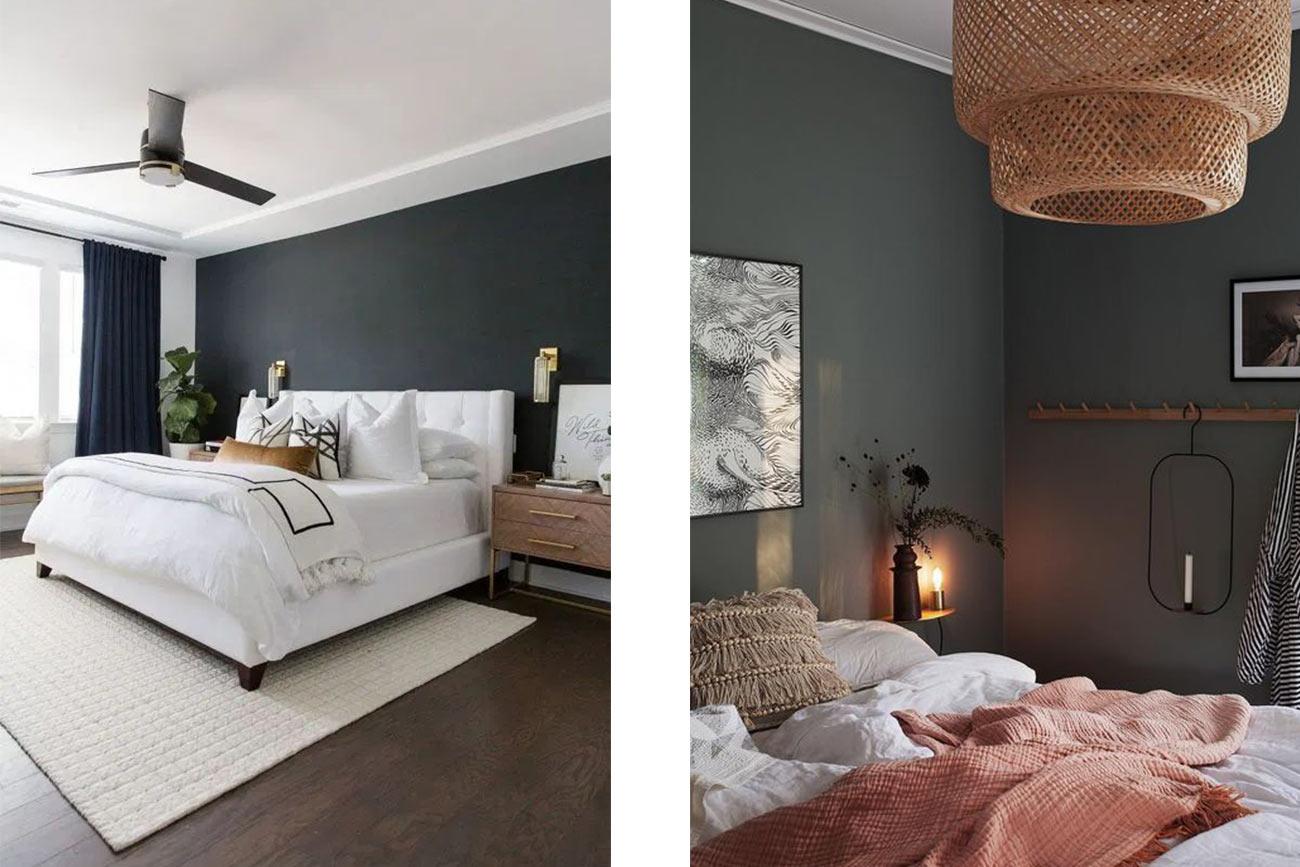 Camere da letto con pareti scure